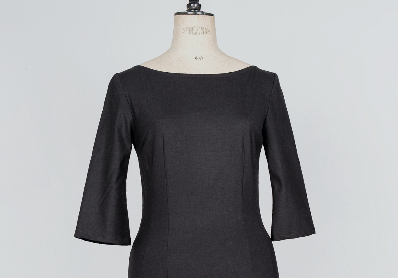 50's pencil femme fatale pin up mid century little black dress
